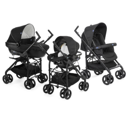 chicco Cochecito combinable Travel-System Trio Sprint Black con Kit Car Black Night