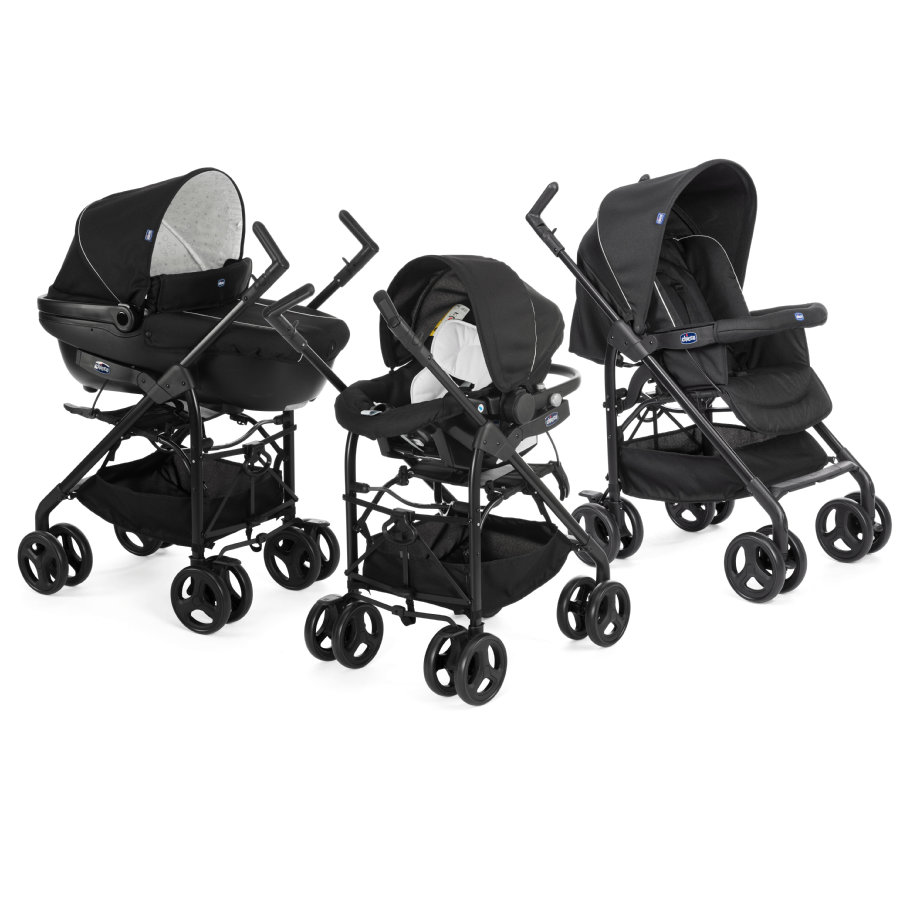 CHICCO Travel System Trio Sprint Black + Car Kit, Black Night