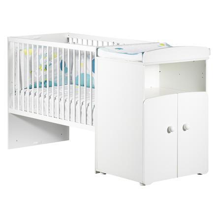 BABY PRICE Lit bébé combiné évolutif New Basic 120 x 60 cm en 90 x 190, boutons boule blanc