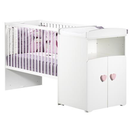 BABY PRICE Lit bébé combiné évolutif New Basic 120 x 60 cm en 90 x 190 cm, boutons coeur rose