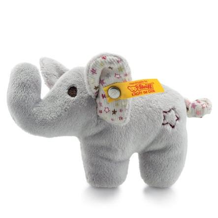 Steiff Mini knitre-elefant med rangle, 11 cm