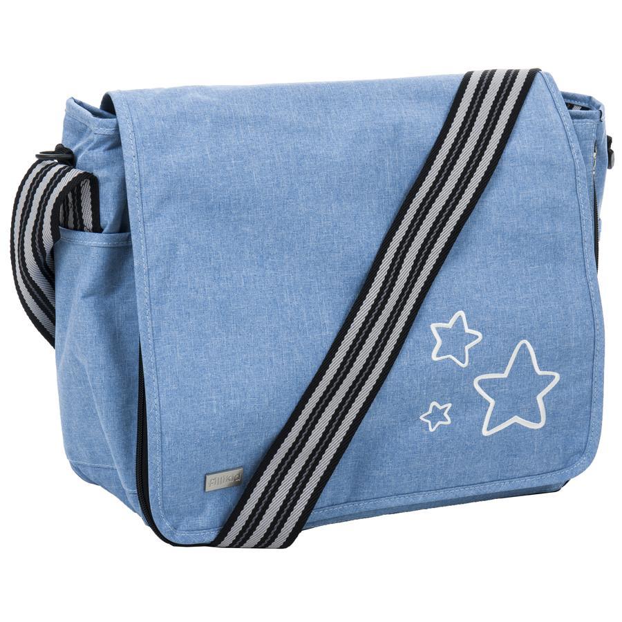 fillikid Přebalovací taška Leon s hvězdičkami melange světle modrá