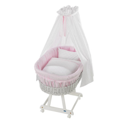 Alvi Textilní sada do košíku pro miminko Classic Star s výšivkou růžová