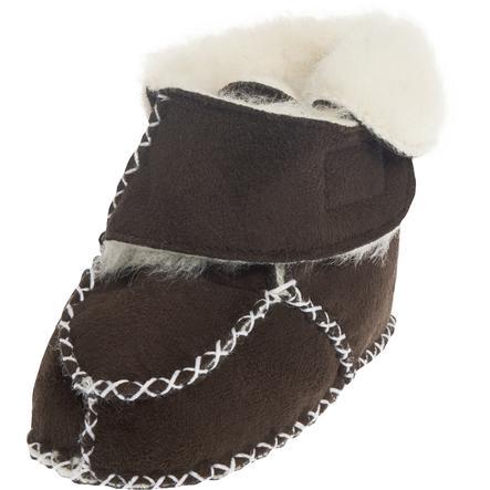 PLAYSHOES Unisex Baby-Schuh in Lammfelloptik dunkelbraun