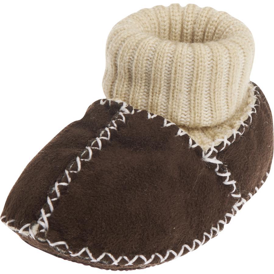 PLAYSHOES Chaussure unisexe en peau d'agneau marron foncé