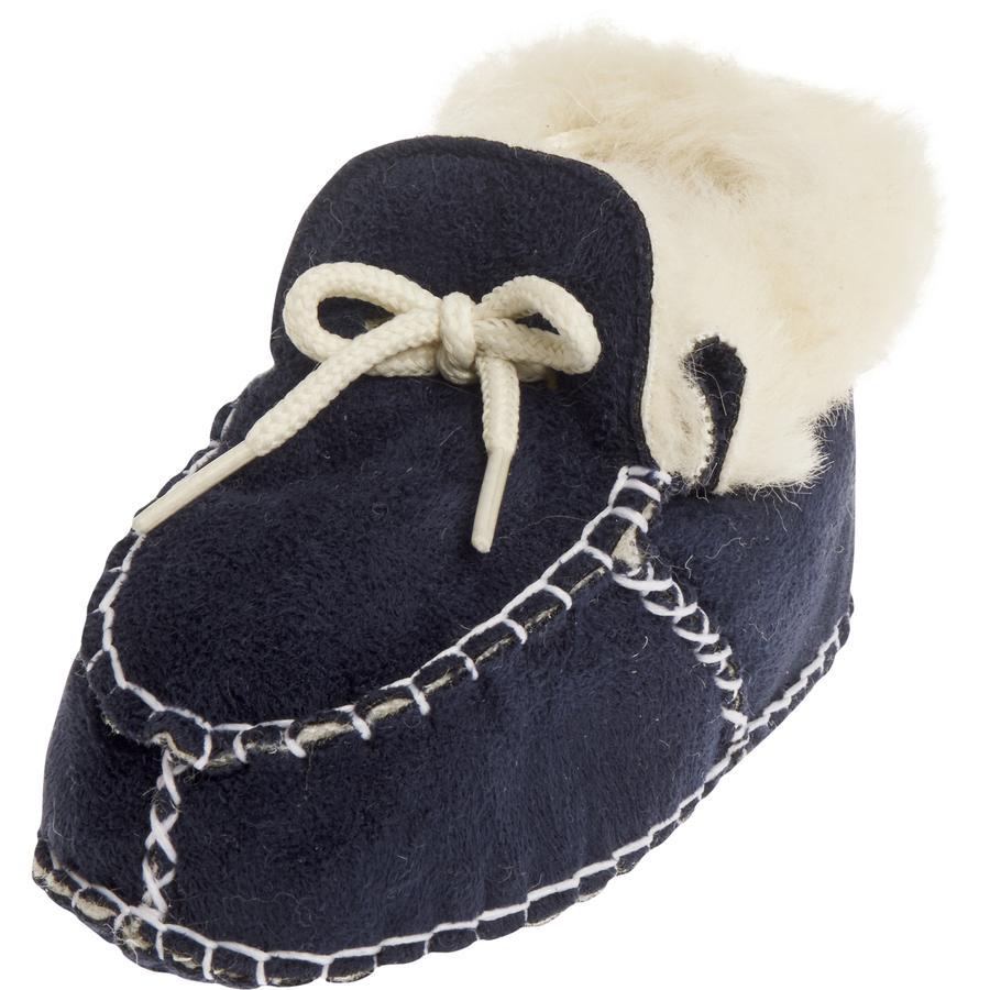 PLAYSHOES Unisex Baby-Schuh in Lammfelloptik marine