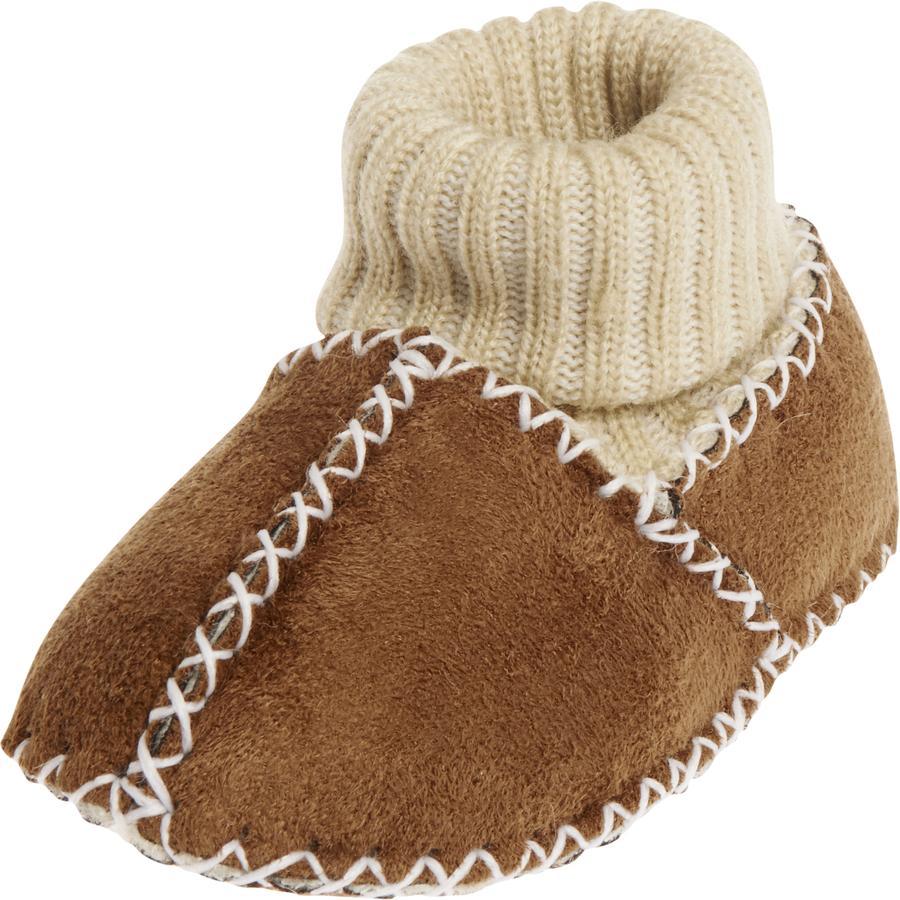 Playshoes Baby-Schuh Lammfelloptik Strickbund hellbraun