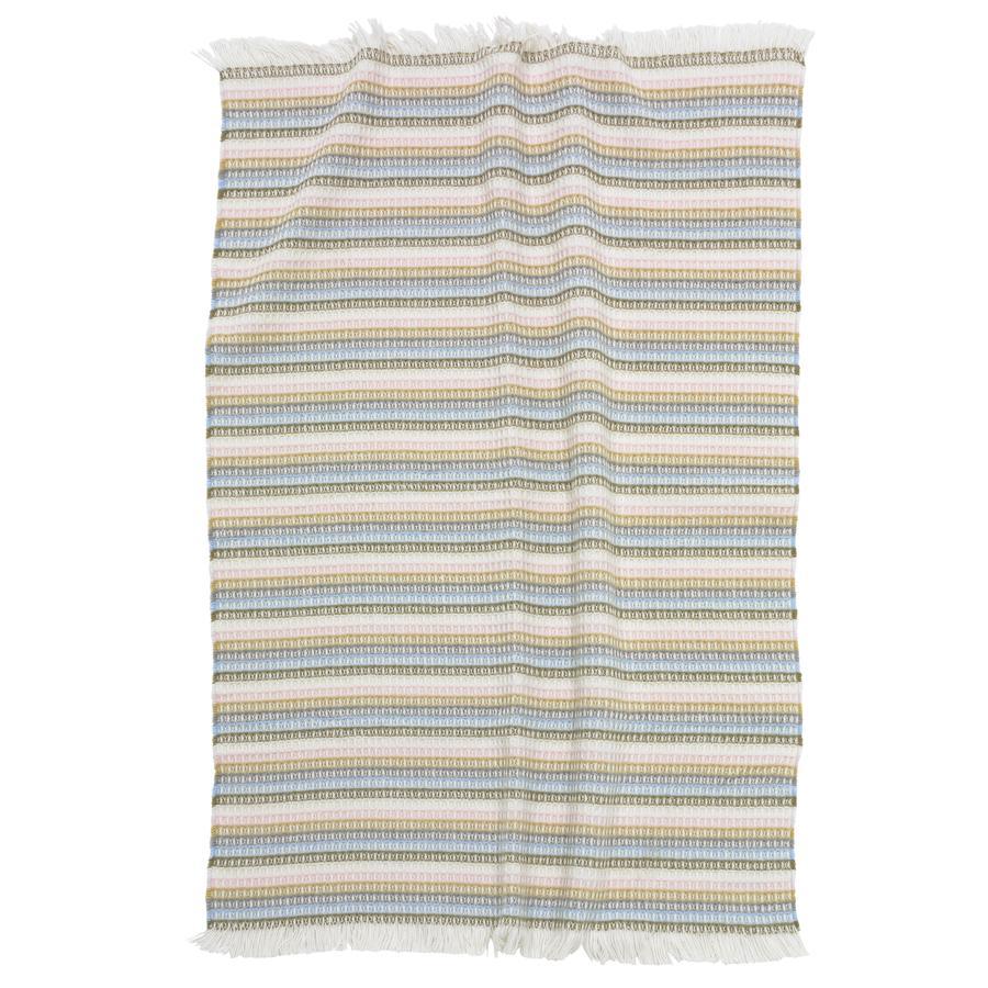 ALVI Couverture coton, rayures, rose, 75 x 100 cm