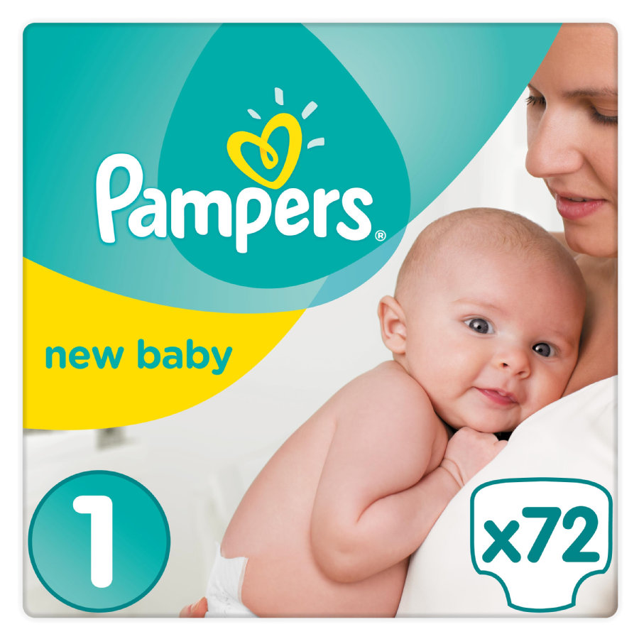 PAMPERS Couches Premium Protection New Baby T. 1 Newborn pack semi-mensuel (2-5 kg), 72 pièces