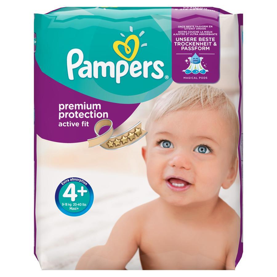 Pampers Active Fit T. 4+ Maxi Plus (9-20 kg) pack mensuel 140 pièces