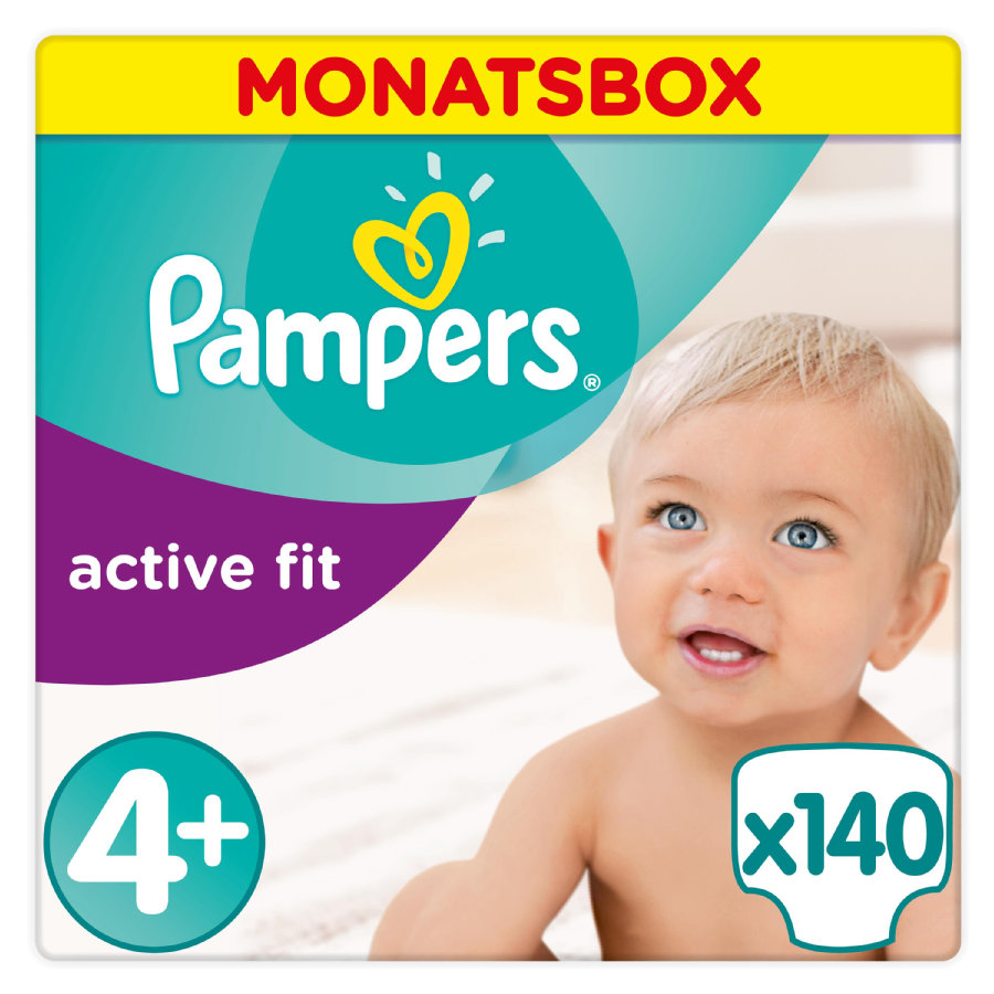 Pampers Windeln Active Fit Gr. 4+ MonatsBox 9-18 kg 140 Stück