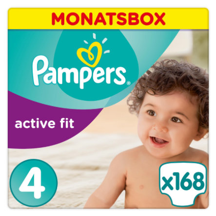Pampers Couches Active Fit T. 4 (8-16 kg) pack mensuel 168 pièces