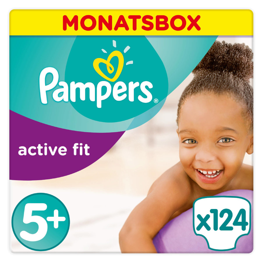 Pampers Active Fit str. 5+ Junior Plus (13-27 kg) månedspakke 124 styk