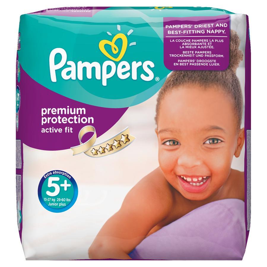 PAMPERS Pannolini Active Fit Taglia 5+ Junior Plus (13-27 kg) - Confezione mensile da 124 pannolini