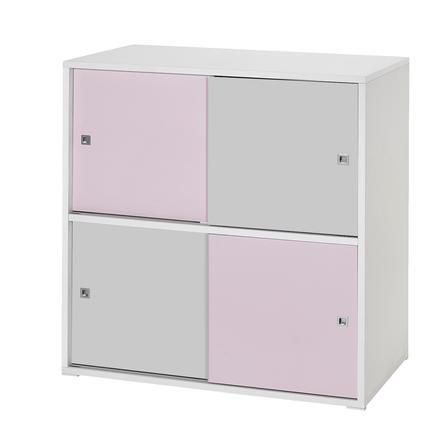 Schardt Mobiletto con 4 ante scorrevoli Clic rosa/grigio