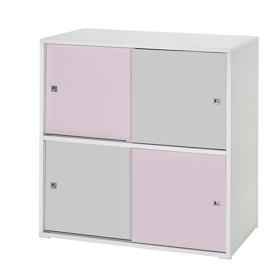 schardt commode 4 petites portes coulissantes clic rose gris. Black Bedroom Furniture Sets. Home Design Ideas