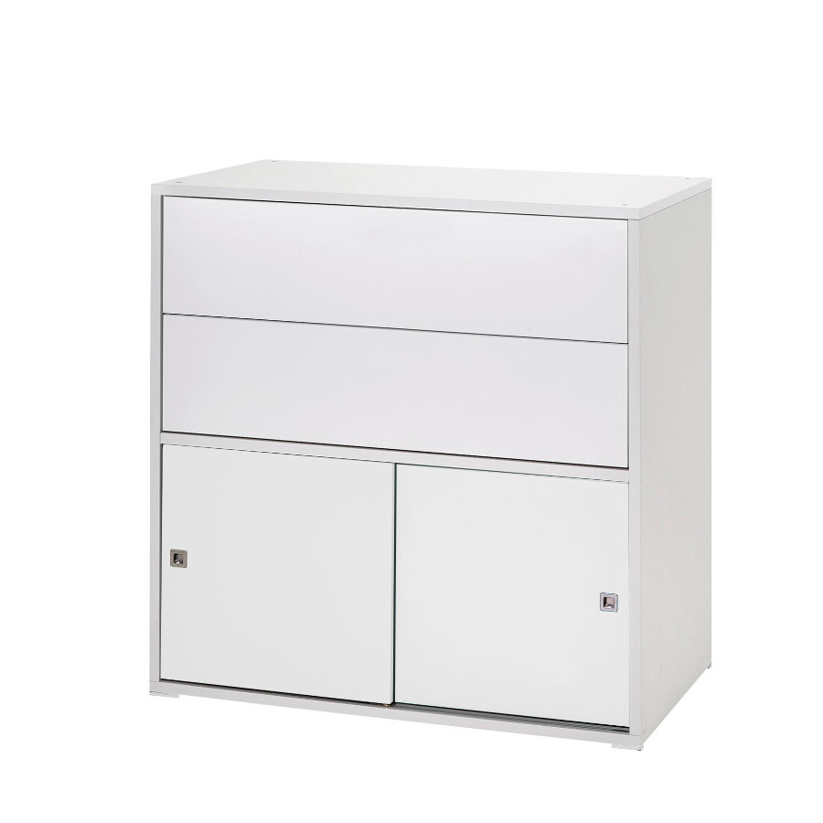 schardt commode 2 petites portes coulissantes 2 tiroirs clic blanc. Black Bedroom Furniture Sets. Home Design Ideas