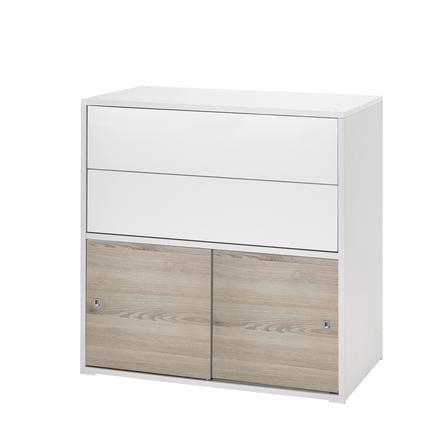 Schardt Mobiletto con cassetti e ante scorrevoli Clic bianco/legno