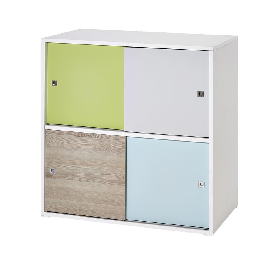 Schardt Commode, 4 petites portes coulissantes, Clic, blanc/multicolore