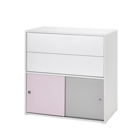 schardt commode 2 petites portes coulissantes 2 tiroirs clic rose gris. Black Bedroom Furniture Sets. Home Design Ideas