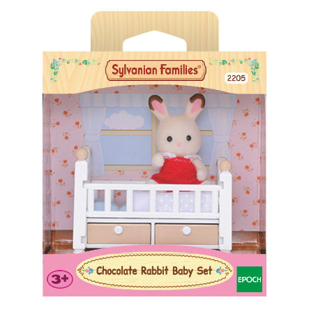 Sylvanian Families® Figurine bébé lapin chocolat et lit 5017