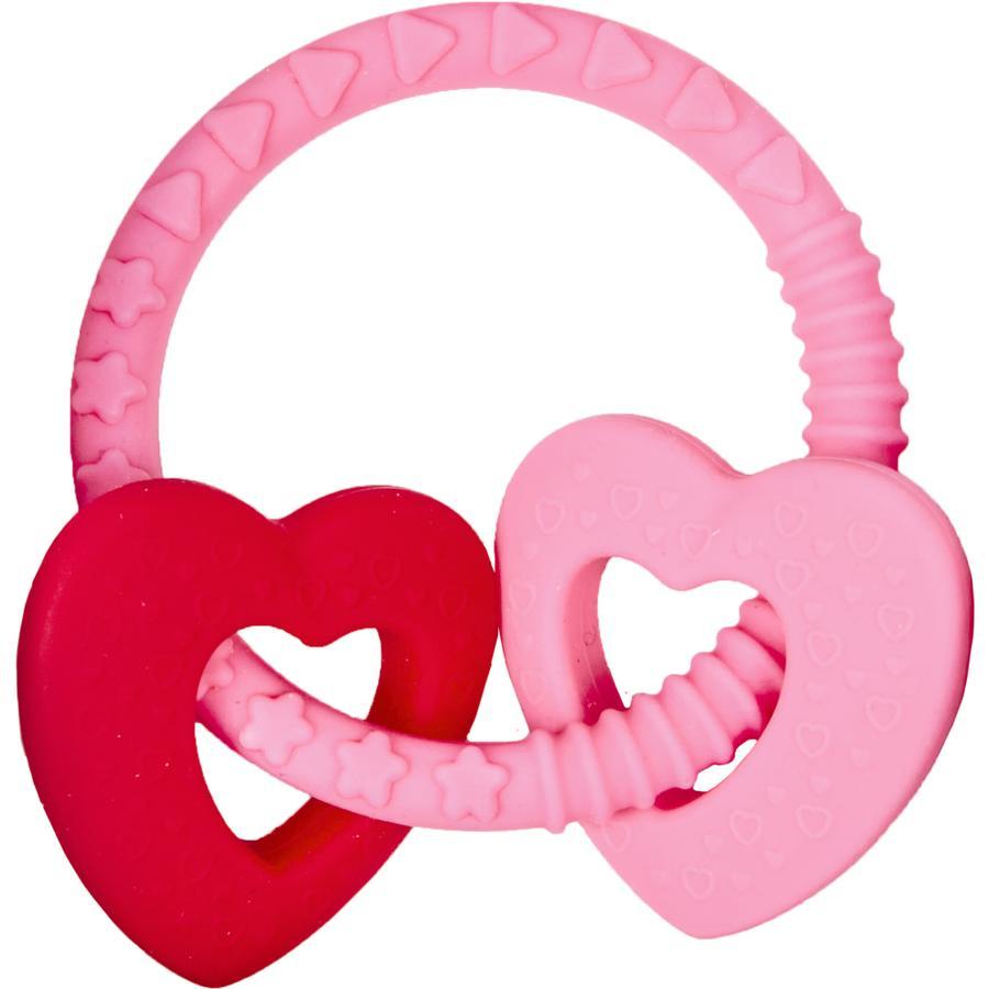 COPPENRATH Anillo de mordida con dos corazones de felicidad rosa Baby