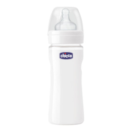 CHICCO Well-Being Glass Baby Bottle 0m+ 240 ml with Silicone Nipple