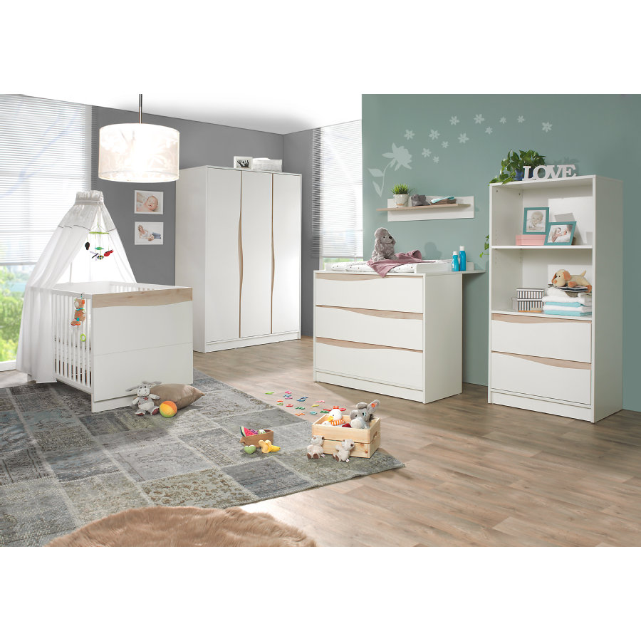 Geuther Ensemble lit bébé commode à langer armoire 3 porte Wave naturel