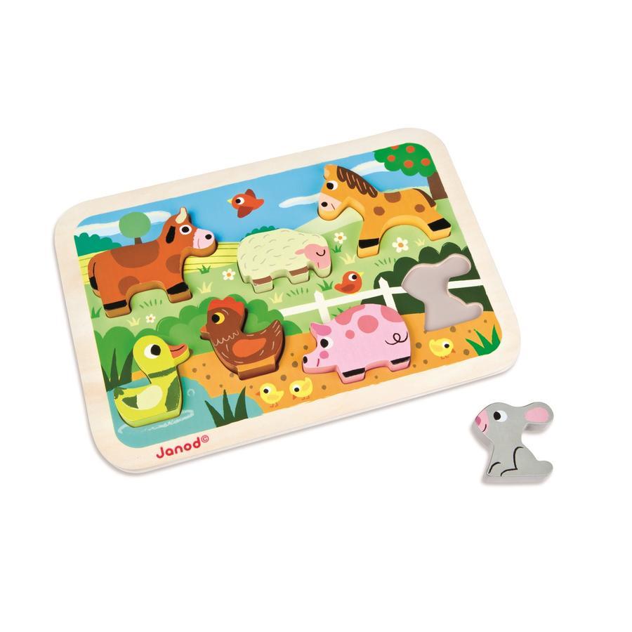 Janod® Chunky puzzle s dřevěnými figurkami - statek, 7 dílů
