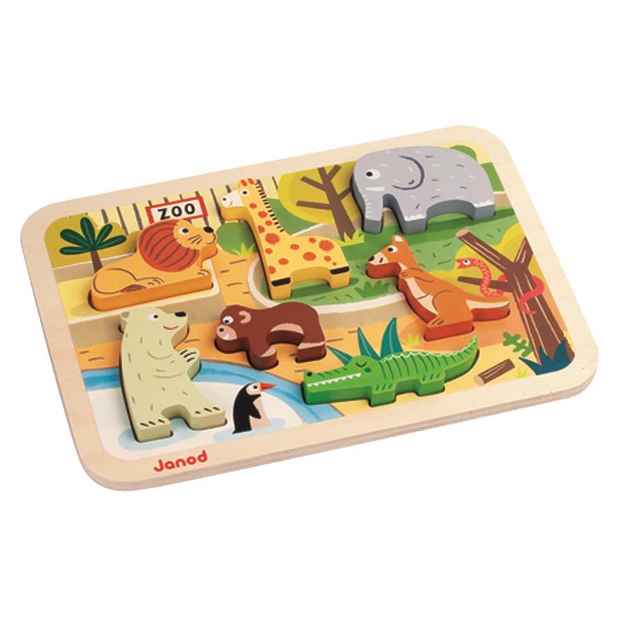 Janod® Chunky Houtfiguren-Puzzel - Dierentuin, 7 Onderdelen