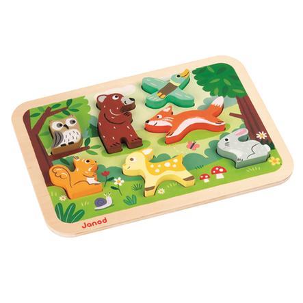 Janod® Chunky puzzle s dřevěnými figurkami - les, 7 dílů
