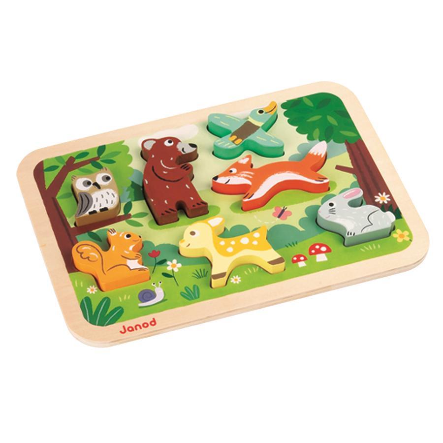 Janod® Chunky Puzzle con figuras de madera - Bosque, 7 piezas