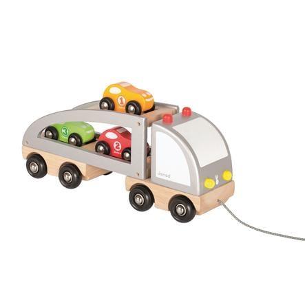 Janod® Auto-Transporter met lading, Trekfiguur
