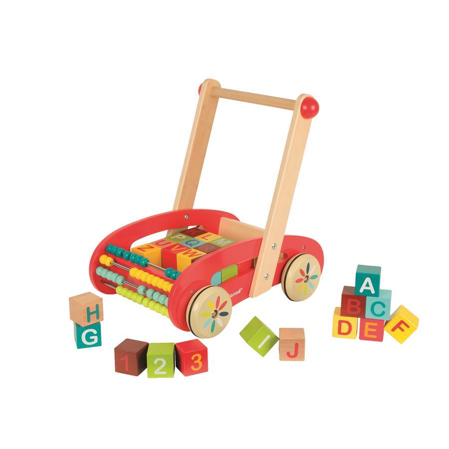 Janod® Carrito de madera ABC con 30 cubos de madera y ábaco