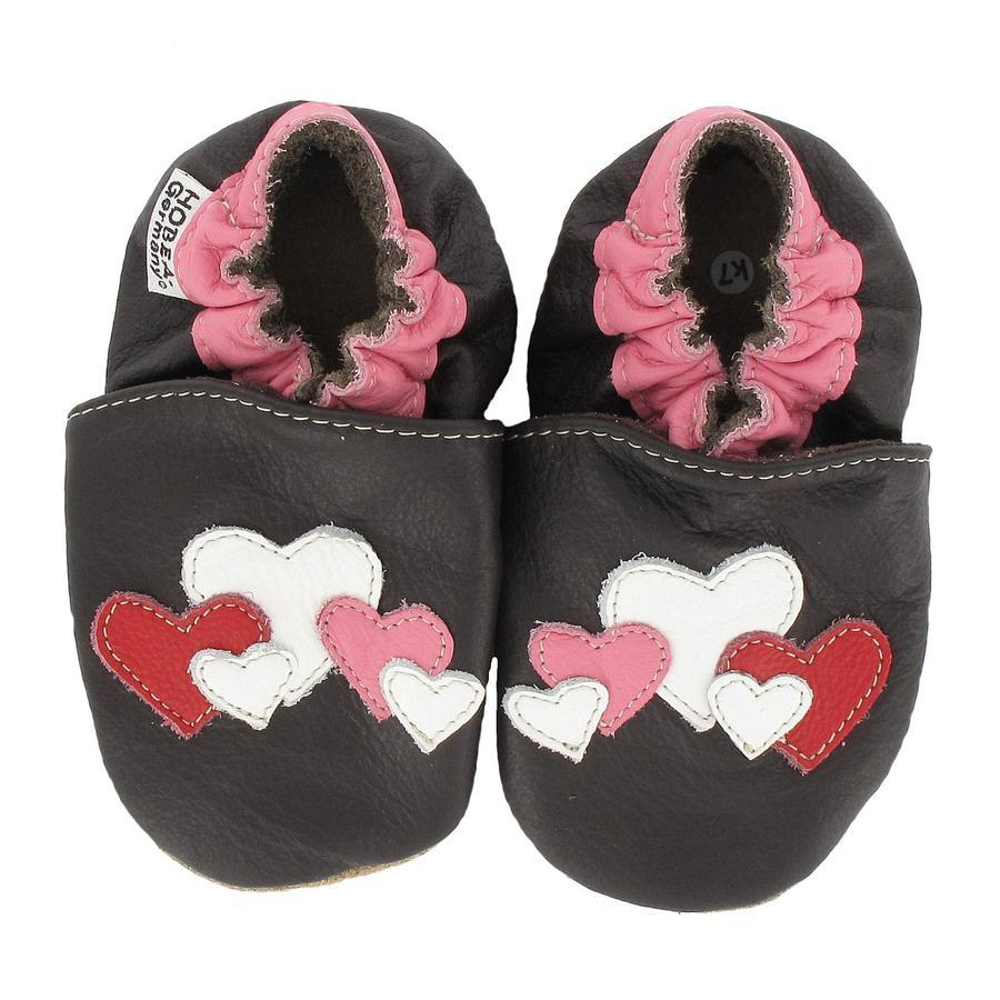 HOBEA Chaussons bébé coeurs brun foncé