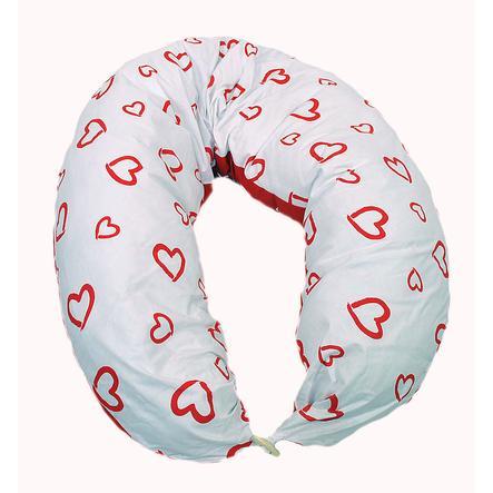 HOBEA Coussin d'allaitement coeurs blanc/rouge