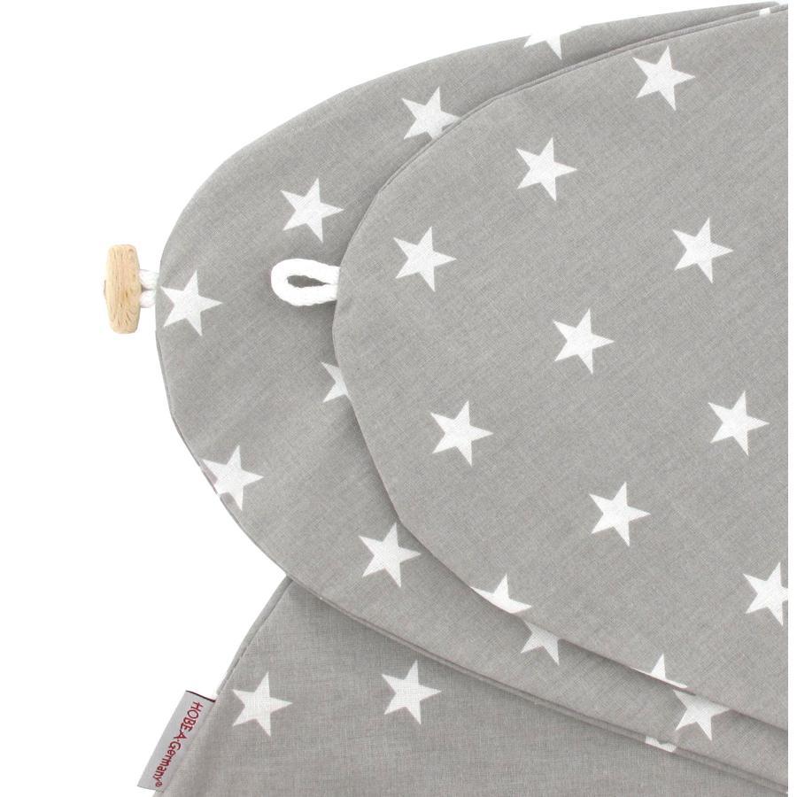 HOBEA Housse de coussin d'allaitement étoiles blanc/gris