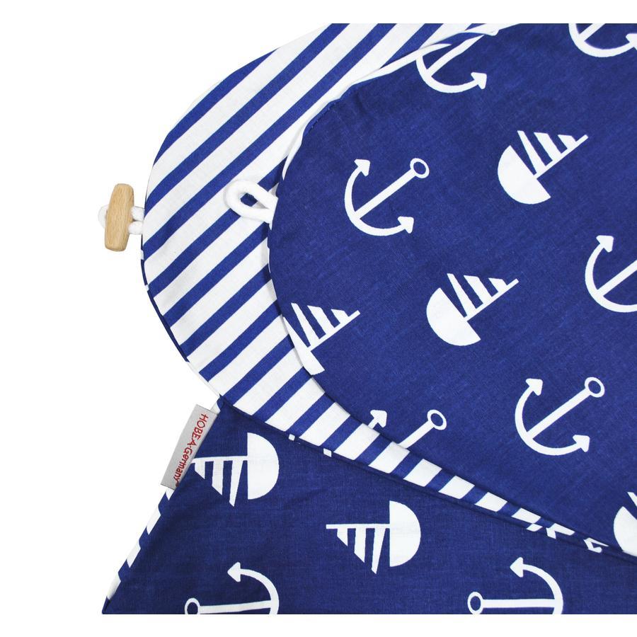 HOBEA Housse de coussin d'allaitement rayures bleu marine