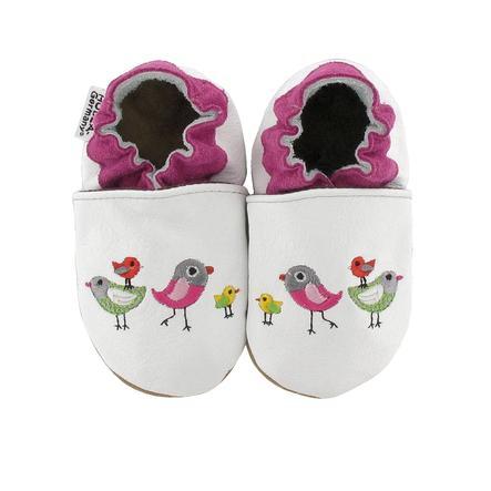 Buty pełzające HOBEA-Niemcy wyhaftowane ptaki białe