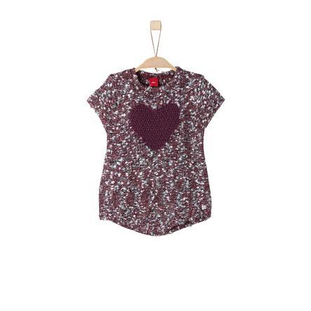 s.Oliver Girl s Pull manches courtes en tricot rose foncé