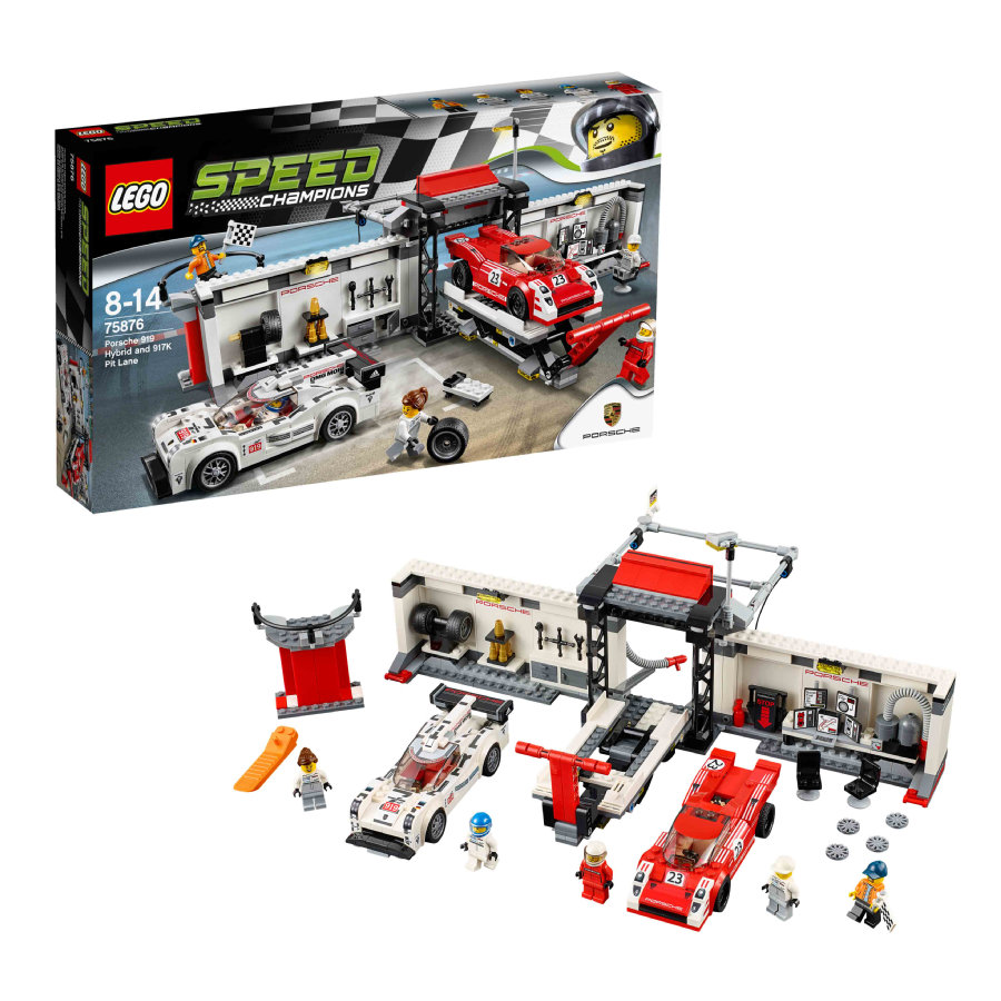 LEGO®  Speed Champions - Porsche 919 Hybrid and 917K Pit Lane 75876
