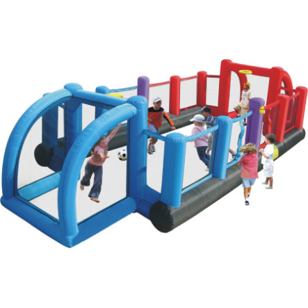 happyhop Bouncy castle - fotbalové hřiště 3 v 1 s funkcí volejbalu a míče