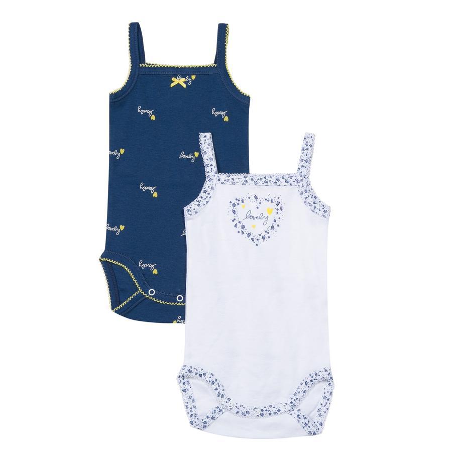 absorba Body bébé cache coeur bretelles coton bleu marine/blanc lot de 2