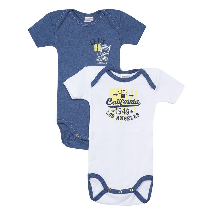 absorba Body bébé cache coeur let's go coton bleu/blanc lot de 2