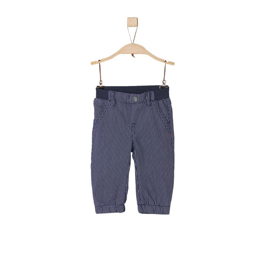 s.Oliver Boys Spodnie ciemnoniebieskie, wielopasmowe paski w kolorze ciemnoniebieskim