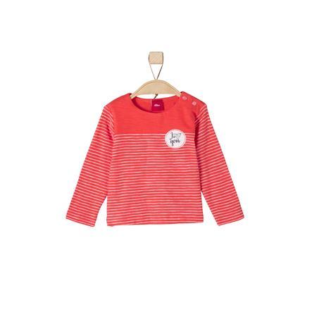 s.Oliver Girl s Longsleeve jasnoczerwone paski w kolorze czerwonym