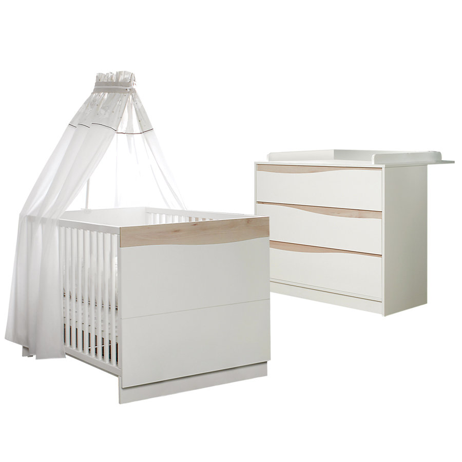 Geuther Set Bed en commode Wave natuur