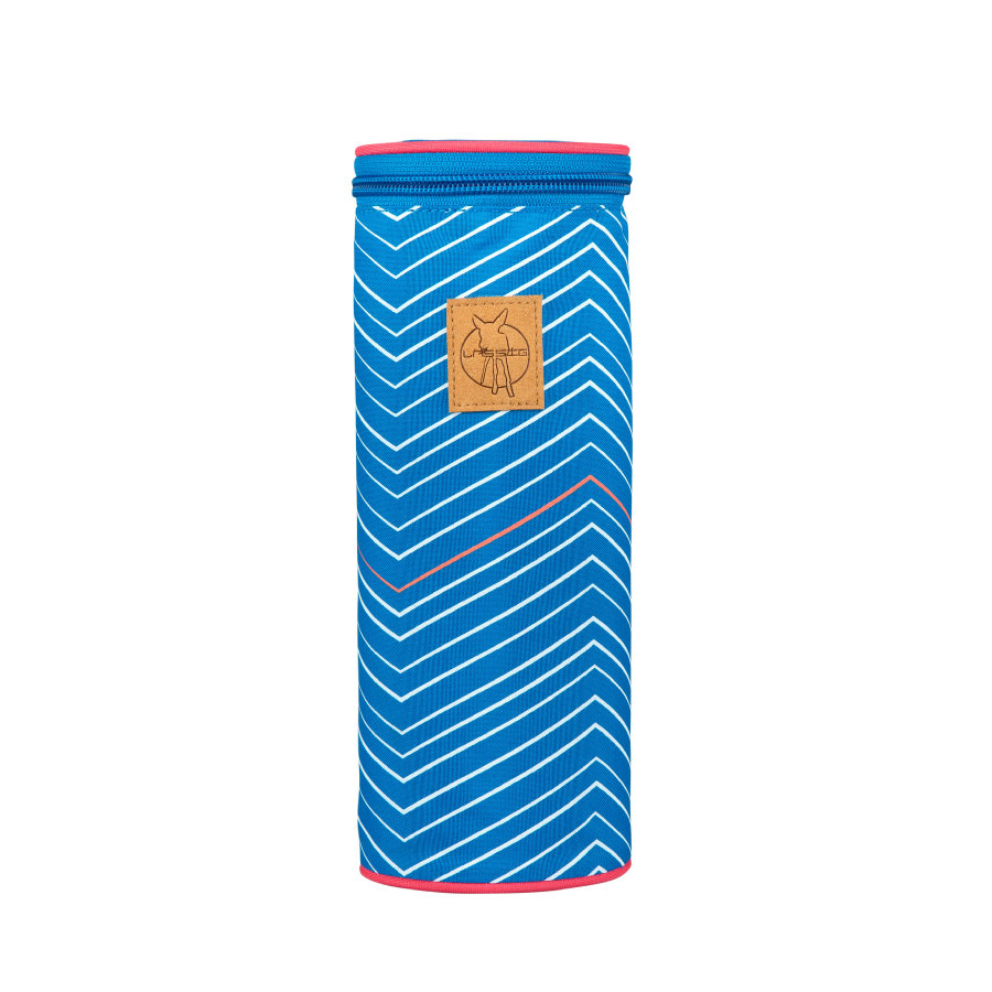 LÄSSIG Casual Bottle Holder Single Zigzag blue