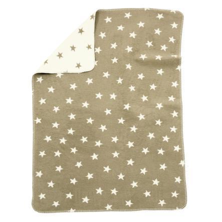alvi Babydecke Baumwolle mit Kettelkante Sterne beige