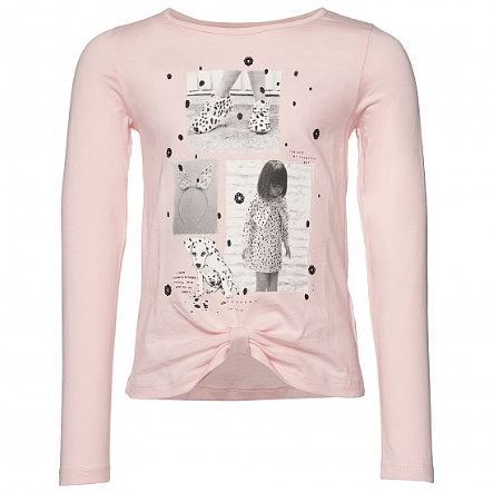 Koszula TOM TAILOR Girl z długim rękawem i węzłem pastelowo-różowym.